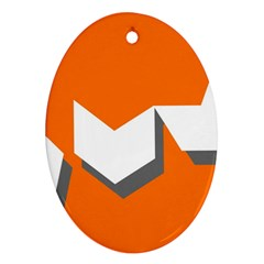 Cute Orange Chevron Oval Ornament (two Sides) by AnjaniArt