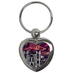 Fantasy Tropical Cityscape Aerial View Key Chains (heart)  by dflcprints