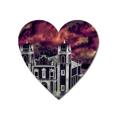 Fantasy Tropical Cityscape Aerial View Heart Magnet by dflcprints
