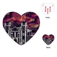 Fantasy Tropical Cityscape Aerial View Playing Cards (heart)  by dflcprints