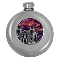 Fantasy Tropical Cityscape Aerial View Round Hip Flask (5 Oz) by dflcprints