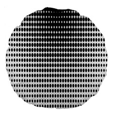 Dark Circles Halftone Black White Copy Large 18  Premium Flano Round Cushions by AnjaniArt