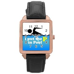 Funny Swiming Water Rose Gold Leather Watch  by AnjaniArt