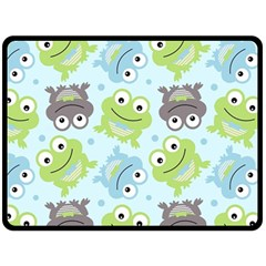 Frog Green Double Sided Fleece Blanket (large)  by AnjaniArt