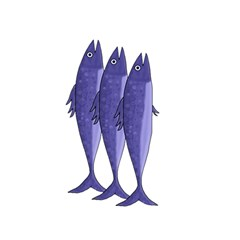 Mackerel    Purple Shower Curtain 48  X 72  (small)  by Valentinaart