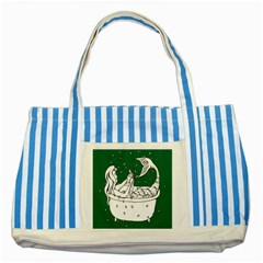 Green Mermaid Striped Blue Tote Bag by AnjaniArt