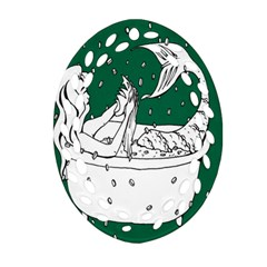 Green Mermaid Oval Filigree Ornament (2 Side)  by AnjaniArt