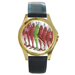 Mackerel Military 2 Round Gold Metal Watch by Valentinaart