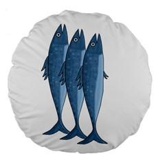 Mackerel Large 18  Premium Flano Round Cushions by Valentinaart