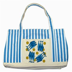 Mackerel Meal 2 Striped Blue Tote Bag by Valentinaart