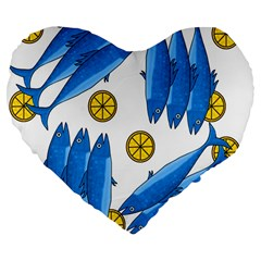 Mackerel Meal 2 Large 19  Premium Flano Heart Shape Cushions by Valentinaart