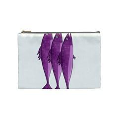 Mackerel   Magenta Cosmetic Bag (medium)  by Valentinaart