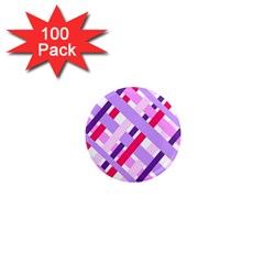 Diagonal Gingham Geometric 1  Mini Magnets (100 pack)