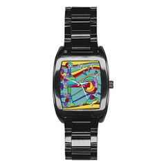 Abstract Machine Stainless Steel Barrel Watch by Valentinaart