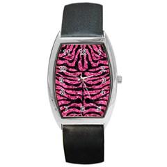 Skin2 Black Marble & Pink Marble (r) Barrel Style Metal Watch by trendistuff