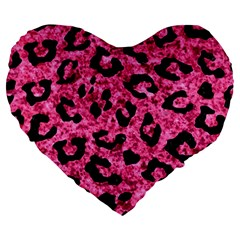 Skin5 Black Marble & Pink Marble Large 19  Premium Heart Shape Cushion by trendistuff