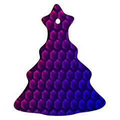 Outstanding Hexagon Blue Purple Christmas Tree Ornament (2 Sides) by AnjaniArt