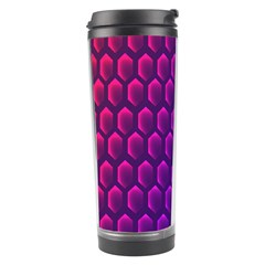 Outstanding Hexagon Blue Purple Travel Tumbler by AnjaniArt