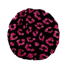 Skin5 Black Marble & Pink Marble (r) Standard 15  Premium Round Cushion  by trendistuff