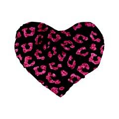 Skin5 Black Marble & Pink Marble (r) Standard 16  Premium Flano Heart Shape Cushion  by trendistuff