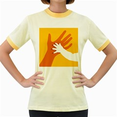 Hand Mom Soon Cute Mains Copy Women s Fitted Ringer T Shirts by AnjaniArt