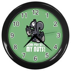 Pet Squirrel Green Nuts Wall Clocks (black) by AnjaniArt
