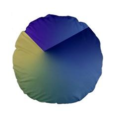 Purple Yellow Standard 15  Premium Flano Round Cushions by AnjaniArt