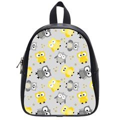 Owl Bird Yellow Animals School Bags (small)  by AnjaniArt