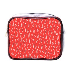 Red Alphabet Mini Toiletries Bags by AnjaniArt