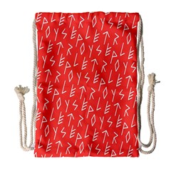 Red Alphabet Drawstring Bag (large) by AnjaniArt