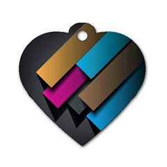 Shapes Box Brown Pink Blue Dog Tag Heart (One Side)