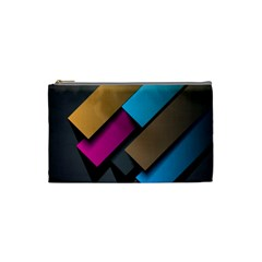 Shapes Box Brown Pink Blue Cosmetic Bag (small)  by AnjaniArt