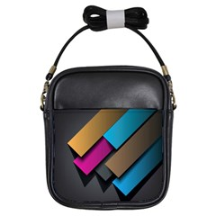 Shapes Box Brown Pink Blue Girls Sling Bags by AnjaniArt