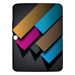 Shapes Box Brown Pink Blue Samsung Galaxy Tab 3 (10.1 ) P5200 Hardshell Case  by AnjaniArt