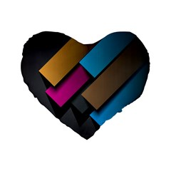 Shapes Box Brown Pink Blue Standard 16  Premium Flano Heart Shape Cushions by AnjaniArt