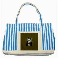 Simple Joker Panda Bears Striped Blue Tote Bag by AnjaniArt