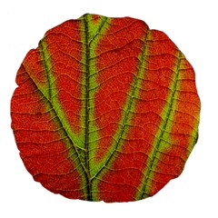 Unique Leaf Large 18  Premium Flano Round Cushions by AnjaniArt