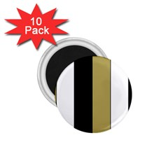 Black Brown Gold White Stripes Elegant Festive Stripe Pattern 1 75  Magnets (10 Pack)  by yoursparklingshop