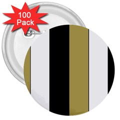 Black Brown Gold White Stripes Elegant Festive Stripe Pattern 3  Buttons (100 Pack)  by yoursparklingshop