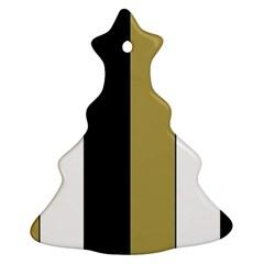 Black Brown Gold White Stripes Elegant Festive Stripe Pattern Ornament (christmas Tree) by yoursparklingshop