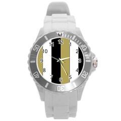 Black Brown Gold White Stripes Elegant Festive Stripe Pattern Round Plastic Sport Watch (l) by yoursparklingshop