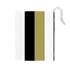 Black Brown Gold White Stripes Elegant Festive Stripe Pattern Drawstring Pouches (large)