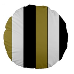 Black Brown Gold White Stripes Elegant Festive Stripe Pattern Large 18  Premium Flano Round Cushions by yoursparklingshop