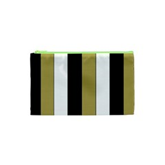 Black Brown Gold White Stripes Elegant Festive Stripe Pattern Cosmetic Bag (xs) by yoursparklingshop