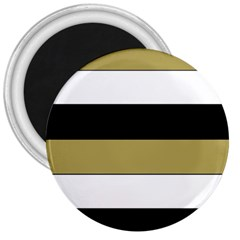 Black Brown Gold White Horizontal Stripes Elegant 8000 Sv Festive Stripe 3  Magnets by yoursparklingshop