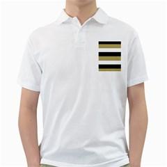 Black Brown Gold White Horizontal Stripes Elegant 8000 Sv Festive Stripe Golf Shirts by yoursparklingshop