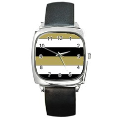 Black Brown Gold White Horizontal Stripes Elegant 8000 Sv Festive Stripe Square Metal Watch by yoursparklingshop