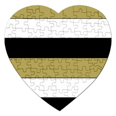 Black Brown Gold White Horizontal Stripes Elegant 8000 Sv Festive Stripe Jigsaw Puzzle (heart) by yoursparklingshop