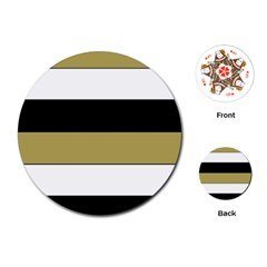 Black Brown Gold White Horizontal Stripes Elegant 8000 Sv Festive Stripe Playing Cards (round)  by yoursparklingshop