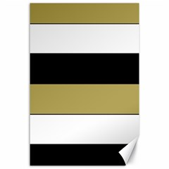 Black Brown Gold White Horizontal Stripes Elegant 8000 Sv Festive Stripe Canvas 24  X 36  by yoursparklingshop